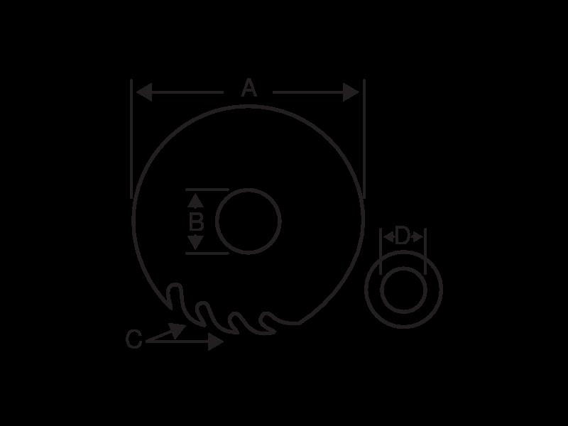 Полотна для переносных и настольных дисковых пил по дереву чертеж