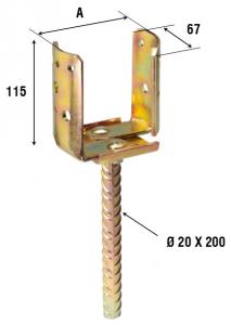 Опора округлого бруса U-образная регулируемая 938